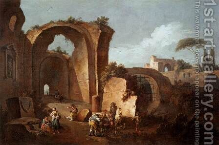 Landscape with Ruins and Archway by Giuseppe Zais - Reproduction Oil Painting