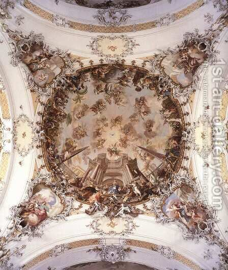Ceiling fresco by Jakob Johann Zeiller - Reproduction Oil Painting