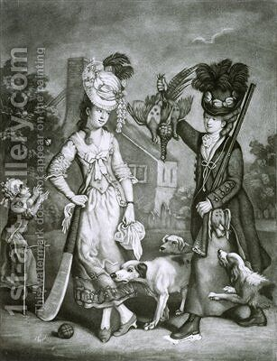 Miss Wicket and Miss Trigger by (after) Collet, John - Reproduction Oil Painting