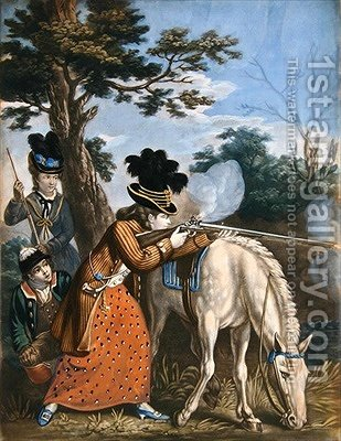 The Ladies Shooting Poney by (after) Collet, John - Reproduction Oil Painting