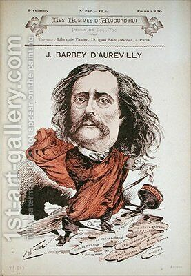 Jules Barbey d Aurevilly from the cover of Les Hommes d Aujourd hui by (after) Coll-Toc - Reproduction Oil Painting