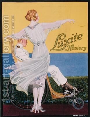 Advertisement for Luxite Hosiery by C. Coles Phillips - Reproduction Oil Painting
