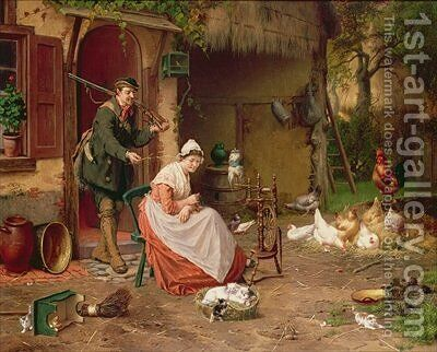 Farmyard Scene by Jan David Cole - Reproduction Oil Painting