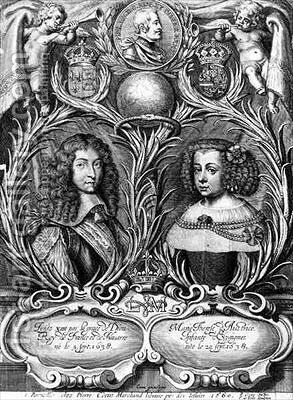 Louis XIV King of France and Marie Therese of Austria by (after) Cocus, Pierre - Reproduction Oil Painting