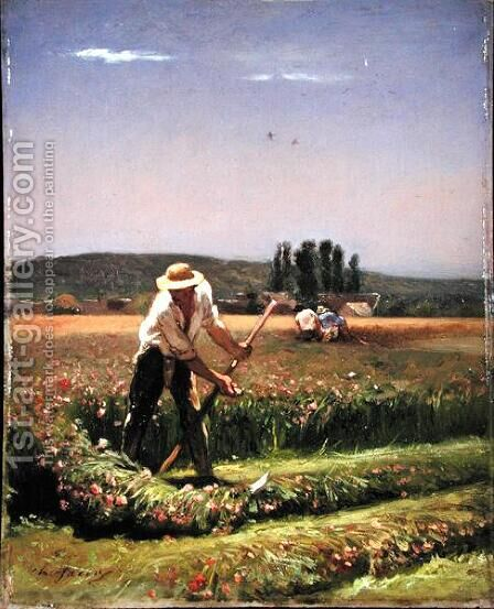 A peasant mowing by Charles Émile Jacque - Reproduction Oil Painting