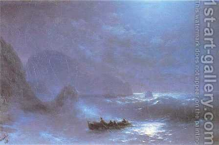 A Lunar night on a sea by Ivan Konstantinovich Aivazovsky - Reproduction Oil Painting