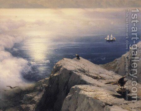 A Rocky Coastal Landscape in the Aegean with Ships in the Distance (detail) by Ivan Konstantinovich Aivazovsky - Reproduction Oil Painting