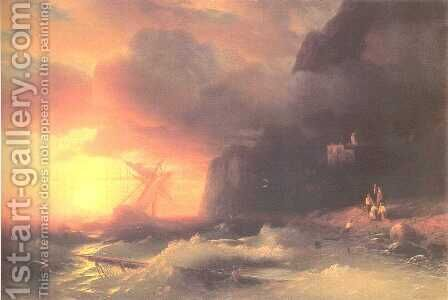 After shipwreck by Ivan Konstantinovich Aivazovsky - Reproduction Oil Painting