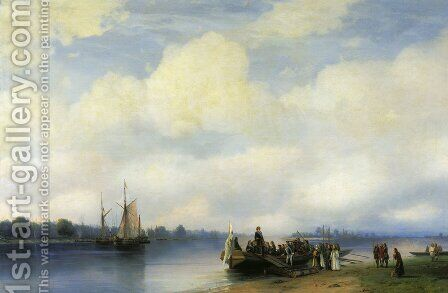Arrival Peter the First on river Neva by Ivan Konstantinovich Aivazovsky - Reproduction Oil Painting