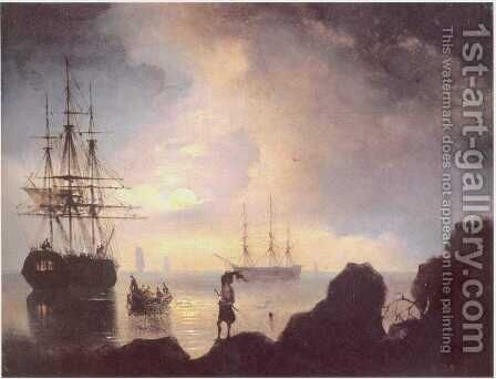 At night Smugglers by Ivan Konstantinovich Aivazovsky - Reproduction Oil Painting