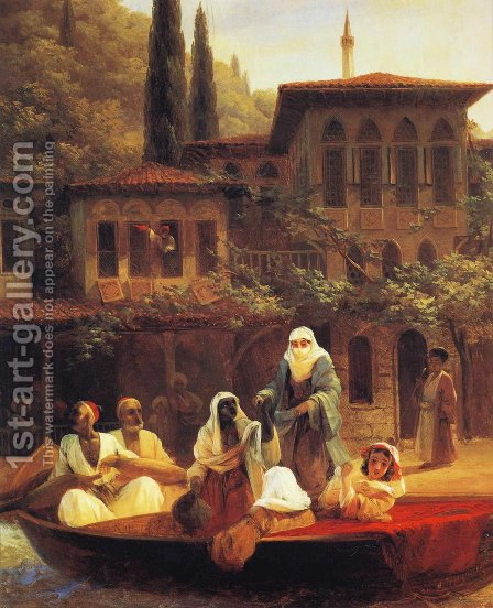 Boat Ride by Kumkapi in Constantinople by Ivan Konstantinovich Aivazovsky - Reproduction Oil Painting