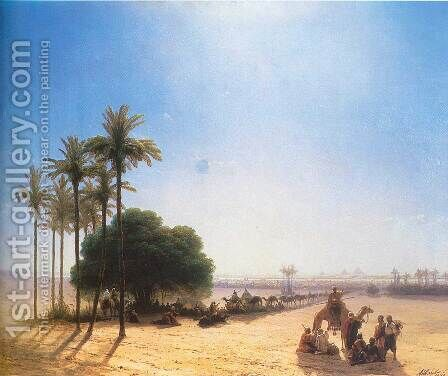 Caravan in oasis Egypt by Ivan Konstantinovich Aivazovsky - Reproduction Oil Painting
