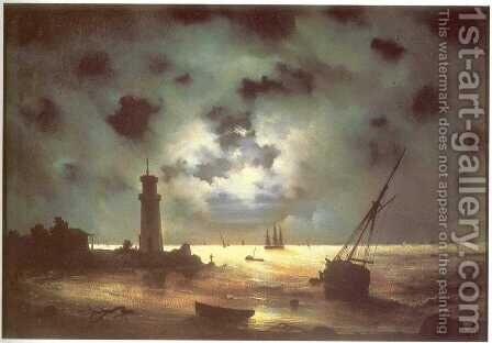 Coast of sea at night by Ivan Konstantinovich Aivazovsky - Reproduction Oil Painting
