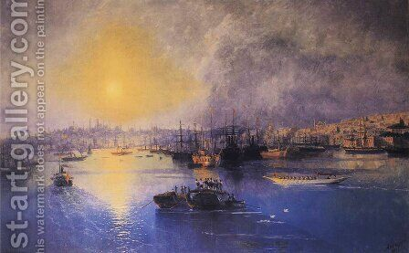 Constantinople Sunset by Ivan Konstantinovich Aivazovsky - Reproduction Oil Painting