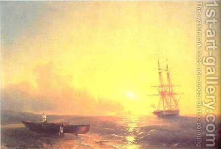 Fishermen on coast of sea by Ivan Konstantinovich Aivazovsky - Reproduction Oil Painting