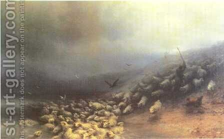Flock of sheep at gale by Ivan Konstantinovich Aivazovsky - Reproduction Oil Painting