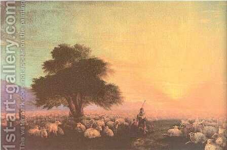 Flock of sheep with herdsmen sunset by Ivan Konstantinovich Aivazovsky - Reproduction Oil Painting