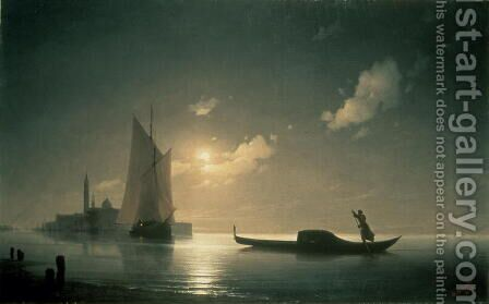 Gondolier at Sea by Night 1843 by Ivan Konstantinovich Aivazovsky - Reproduction Oil Painting