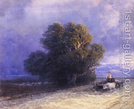 Ox Cart Crossing a Flooded Plain (detail) by Ivan Konstantinovich Aivazovsky - Reproduction Oil Painting