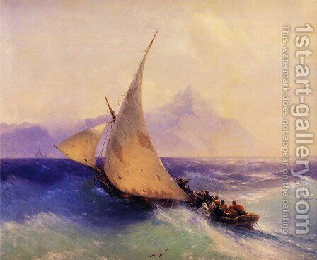 Rescue at Sea (detail) by Ivan Konstantinovich Aivazovsky - Reproduction Oil Painting