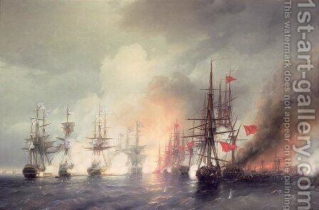 Russian Turkish Sea Battle of Sinop on 18th November 1853 by Ivan Konstantinovich Aivazovsky - Reproduction Oil Painting