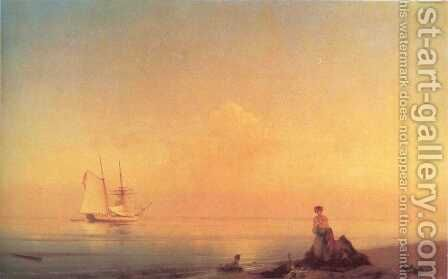 Seashore Calm by Ivan Konstantinovich Aivazovsky - Reproduction Oil Painting