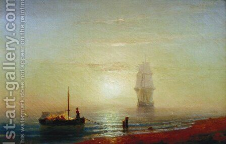 Sunseat on a sea by Ivan Konstantinovich Aivazovsky - Reproduction Oil Painting