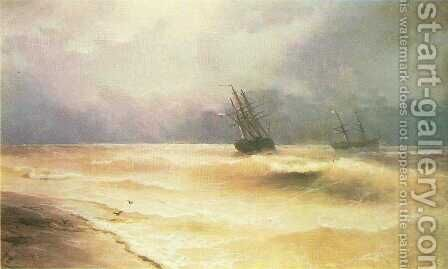 Surf near coast of Crimea by Ivan Konstantinovich Aivazovsky - Reproduction Oil Painting