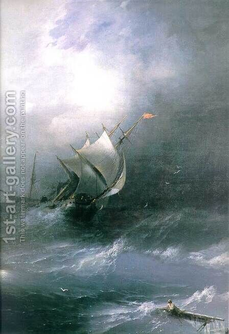 Tempest on Ice ocean by Ivan Konstantinovich Aivazovsky - Reproduction Oil Painting