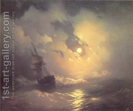 Tempest on the sea at night by Ivan Konstantinovich Aivazovsky - Reproduction Oil Painting
