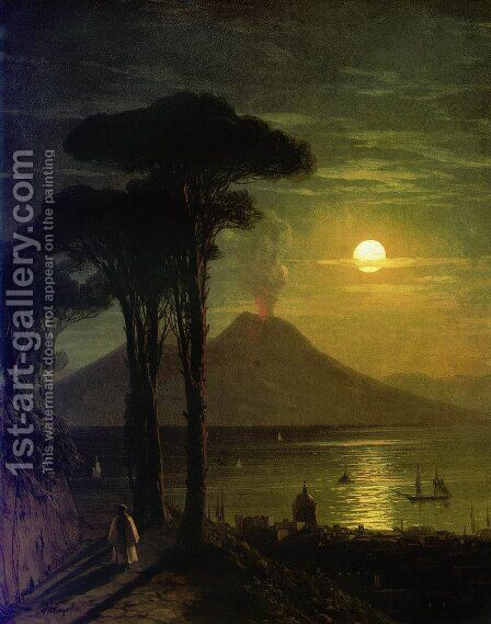 The Bay of Naples at moonlit night Vesuvius by Ivan Konstantinovich Aivazovsky - Reproduction Oil Painting