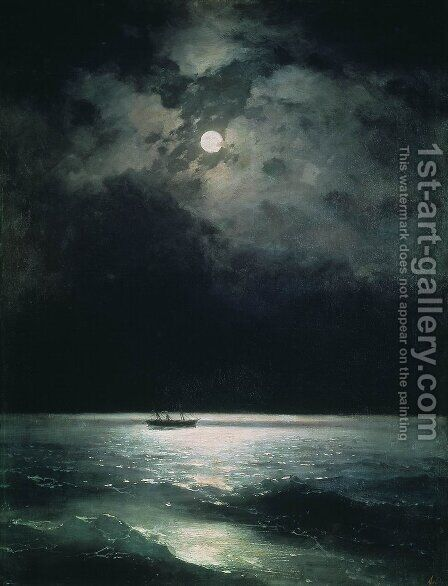The Black Sea at night by Ivan Konstantinovich Aivazovsky - Reproduction Oil Painting