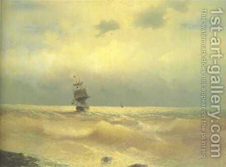 The ship near coast by Ivan Konstantinovich Aivazovsky - Reproduction Oil Painting