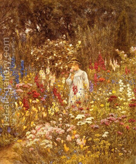 A Cottage Garden Date unknown by Helen Mary Elizabeth Allingham, R.W.S. - Reproduction Oil Painting
