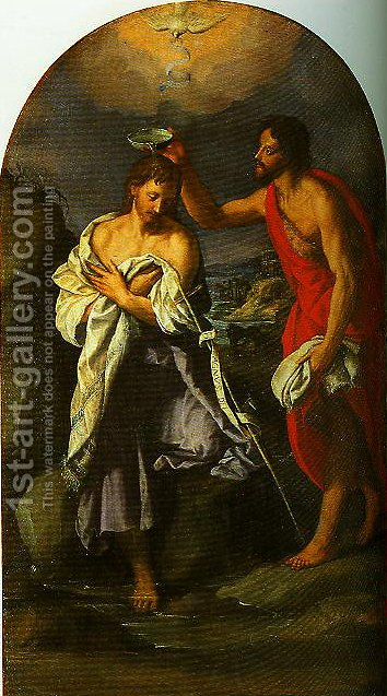 The Baptism of Christ by Alessandro Allori - Reproduction Oil Painting