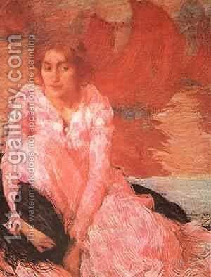 Girl In A Pink Dress 1900-1902 by Edmond-Francois Aman-Jean - Reproduction Oil Painting