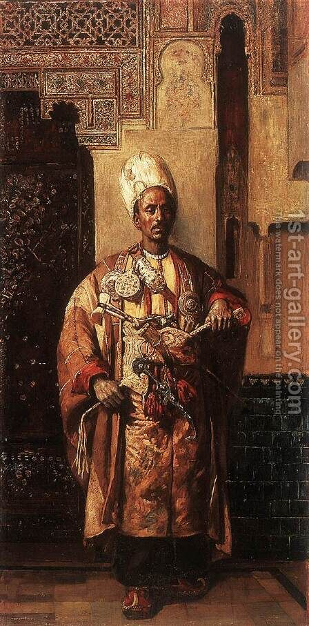 Arab Man with Arms by Gyula Tornai - Reproduction Oil Painting