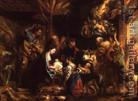 The Nativity by Jacob Jordaens - Reproduction Oil Painting
