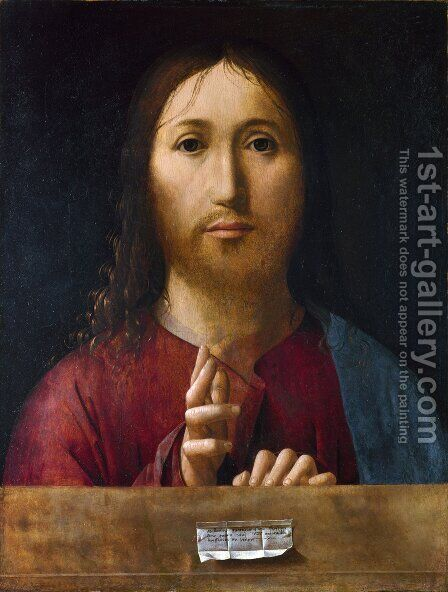 Christ Blessing 1465 by Antonello da Messina Messina - Reproduction Oil Painting