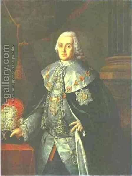 Portrait Of General In Chief Count William W Fermor 1765 by Aleksei Antropov - Reproduction Oil Painting