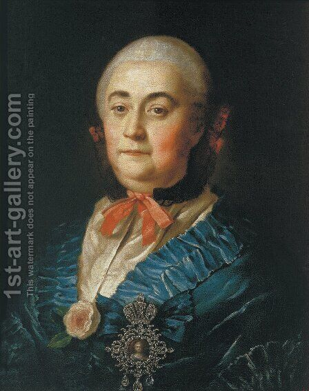 Portrait Of The Lady In Waiting A M Izmaylova 1759 by Aleksei Antropov - Reproduction Oil Painting