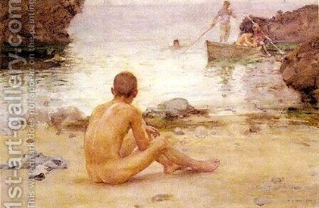 Seated Nude on a Beach 1900 by Henry Scott Tuke - Reproduction Oil Painting