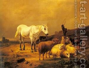 A Horse Sheep And Goat In A Landscape by Eduard Veith - Reproduction Oil Painting