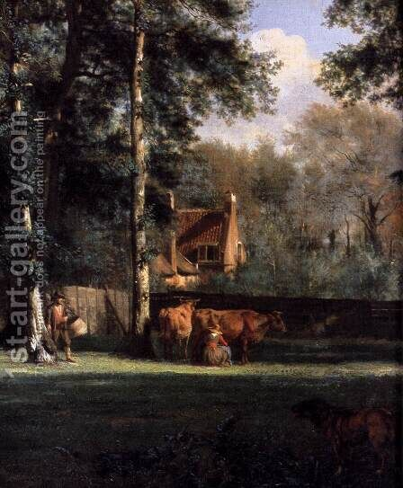The Farm (detail) 1666 by Adriaen Van De Velde - Reproduction Oil Painting