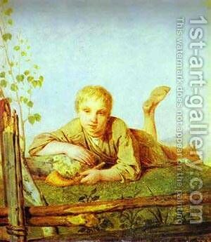 A Herd Boy With A Pipe 1820s by Aleksei Gavrilovich Venetsianov - Reproduction Oil Painting