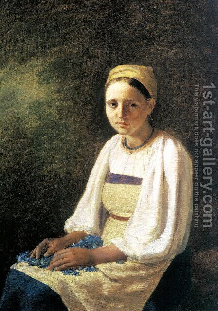 Girl With The Cornflowers 1820s by Aleksei Gavrilovich Venetsianov - Reproduction Oil Painting