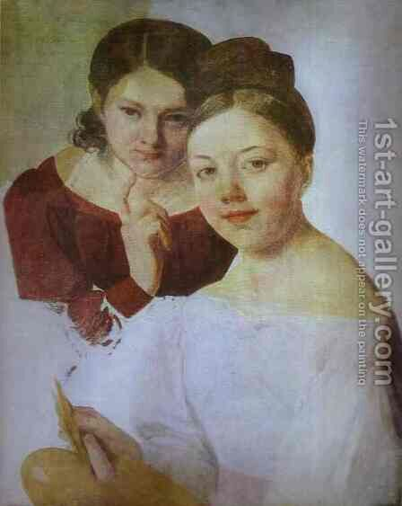 Portrait Of Artists Daughters Alexandra And Felisata 1830s by Aleksei Gavrilovich Venetsianov - Reproduction Oil Painting