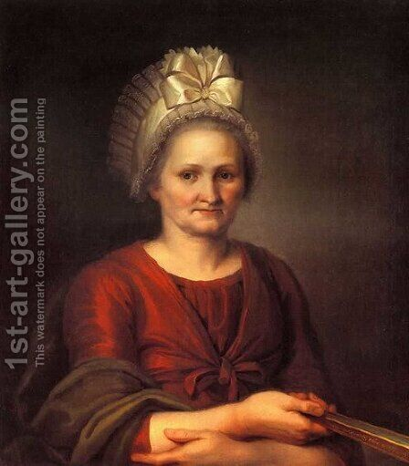 Portrait Of Artists Mother 1801 by Aleksei Gavrilovich Venetsianov - Reproduction Oil Painting