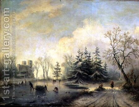 Trees, Castle and skating figures by Barend Cornelis Koekkoek - Reproduction Oil Painting