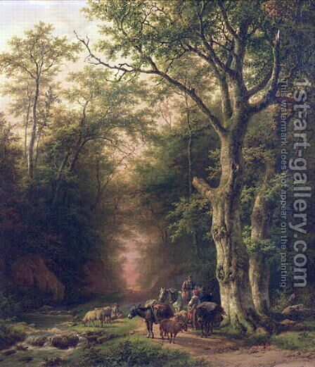 Wooded Landscape with peasants by Barend Cornelis Koekkoek - Reproduction Oil Painting